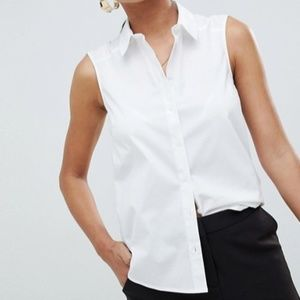 ASOS sleeveless shirt in stretch cotton